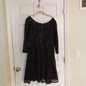 SLNY Lace Dress - Fit and Flare -  Black - Size 18